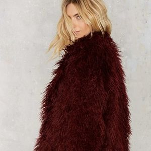 Women's Willow & Clay Maroon Shaggy Jacket Size M